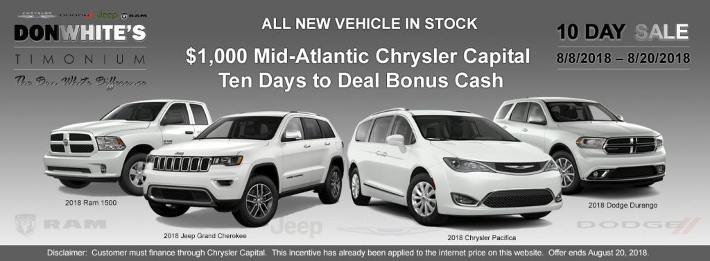 Perfect 10 Days To Deal On 2018 2019 Chrysler Dodge Jeep Ram